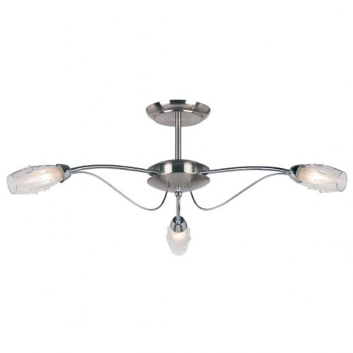 3-Light Satin Chrome Fitting + Glass + G9 9009-3SC